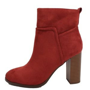 Rust Faux Suede Stitching Pull On Block Ankle